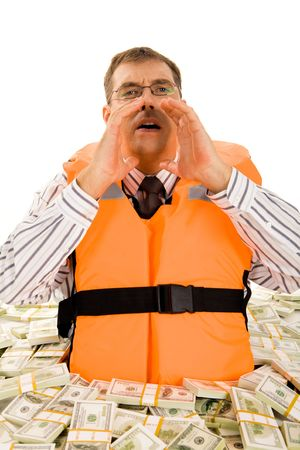 emergency vest: Portrait of businessman in financial trouble crying for help