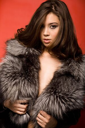 Portrait of elegant woman wearing fur coat looking at camera Stock Photo - 3725084