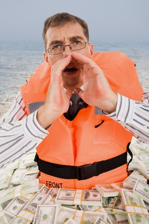 emergency vest: Image of troubled man wearing life vest crying for help with dollar bills around him