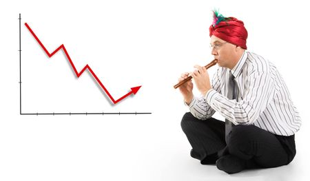 fingering: Conceptual image of man playing the pipe to incline finances