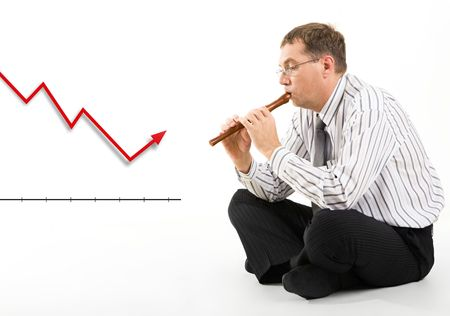 fingering: Photo of businessman with pipe in hands sitting before graph changing its direction Stock Photo