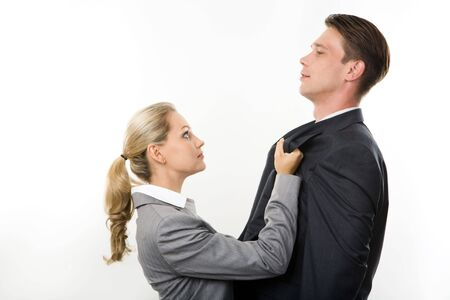 Conceptual image of business lady having fight with her colleague photo
