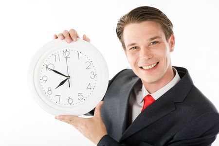 Photo of smiling employer with clock in hands looking at camera photo