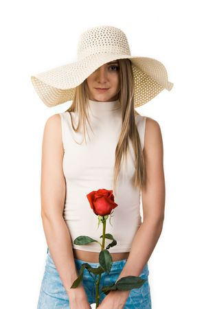 Portrait of elegant lady in hat wnd rose in hands over white background photo