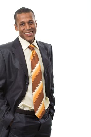 Portrait of successful professional wearing black suit and smiling Stock Photo - 3929235