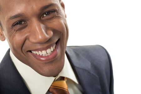 Face of happy Afro American businessman looking at camera with smile Stock Photo - 3929195