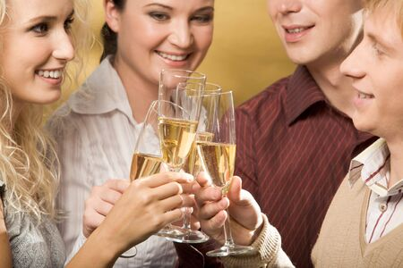 Portrait of cheerful people toasting at party with smiles Stock Photo - 3929292