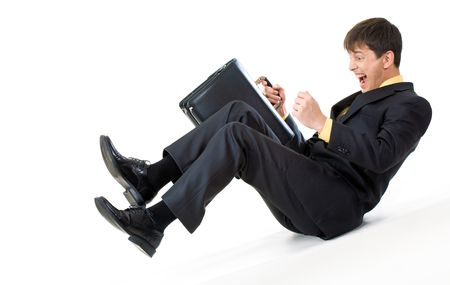 Metaphorical image of screaming businessman sliding down gradually Stock Photo - 3929151