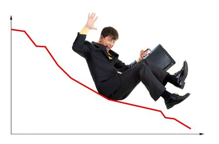 Creative photo of troubled businessman sliding down upon graph Stock Photo - 3929197