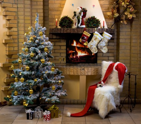 fur tree: Christmas room with fireplace, chair, presents under decorated fir tree and toys in it
