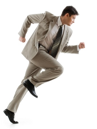 running businessman: Image of confident businessman running on white background   Stock Photo
