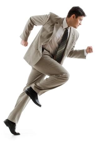 gente corriendo: Imagen de hombre de negocios conf�a en correr en el fondo blanco Foto de archivo