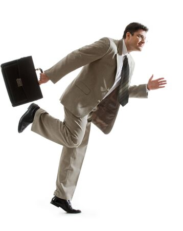 Portrait of fashionable partner with briefcase ready to run Stock Photo - 4113727