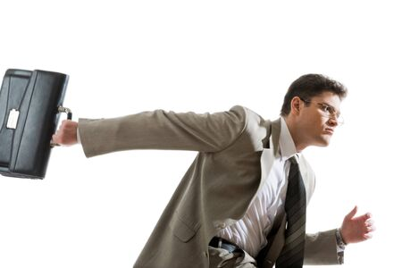 black briefcase: Photo of serious professional holding a black briefcase Stock Photo