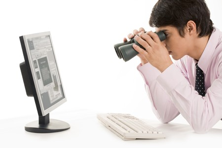 specialist: Conceptual image of specialist observing growth of sales  Stock Photo