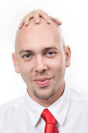 Portrait of smiling man with feminine hand on his bald head Stock Photo - 4192046