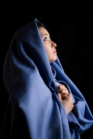harem: Portrait of religious woman looking with hope