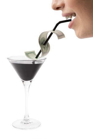 Creative image of happy male mouth drinking from martini glass photo