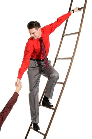 Image of confident businessman on ladder and supporting man Stock Photo - 4252460