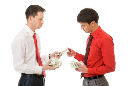 Portrait of two partners making bargain on a white background  photo