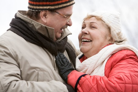 Portrait of happy companions looking at each other with smiles Stock Photo - 4252499
