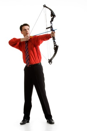 rival: Conceptual photo of confident archer targeting at his rival