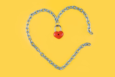 Image of heart made of iron with lock on the middle Stock Photo - 4322721