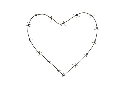 Image of heart made up of barbed wire over white background Stock Photo - 4322710