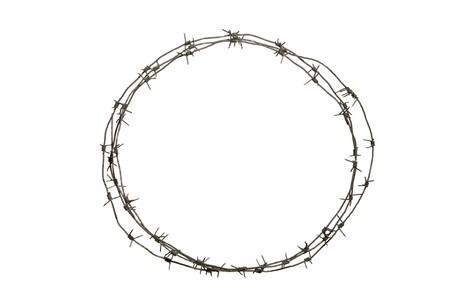 fil de fer: Image de la ronde diadème constitué de fils barbelés sur fond blanc  Banque d'images