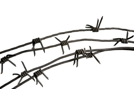 deterrent: Close-up of piece of barbwire with prickles over white background
