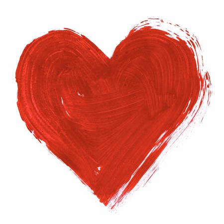 aquarelle painting art: Painting of big red heart over white background Stock Photo