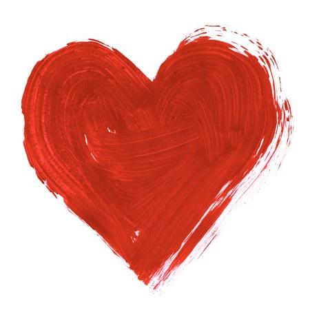 dessin coeur: Peinture de grand coeur rouge sur fond blanc Banque d'images