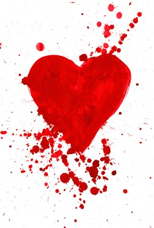 corazones: Abstract painting of heart covered with splashes over white background Stock Photo