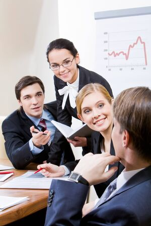 Photo of business group having hot discussion during seminar Stock Photo - 4336501
