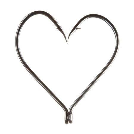 s trap: Image of two hooks put together in the form of heart on white background
