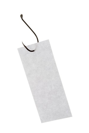 Image of grey rectangular paper sheet pierced by fishing hook Stock Photo