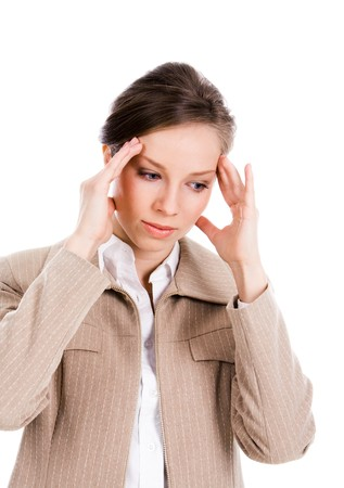 Portrait of businesswoman having headache and touching her head on white background Stock Photo - 4549334