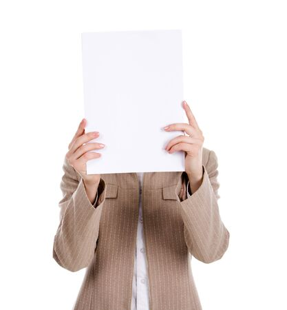 reluctant: Photo of business laady hiding her face while reading a document Stock Photo