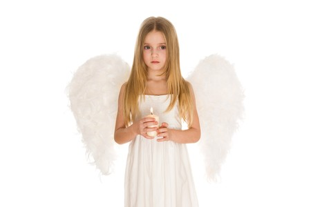 seraphic: Portrait of girl in white angelic costume holding candle and looking aside