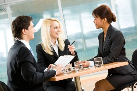 Photo of executive people interacting with each other and sharing their ideas at meeting Stock Photo - 4549458