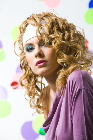 Portrait of glamorous blonde wearing bright clothes with wavy hair-style Stock Photo - 4555019