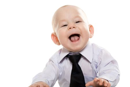 laughing baby: Portrait of baby boy wearing shirt and tie enjoying himself over white background Stock Photo