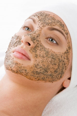 pore: Relaxed girl having pore cleaning procedure in parlor Stock Photo