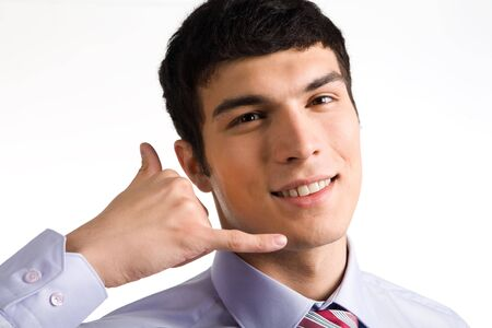 Portrait of successful businessman keeping hand by his face on white background Stock Photo - 4920760