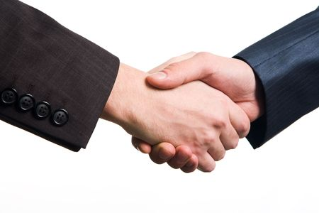 ovation: Photo of handshake of business partners after striking deal on white background Stock Photo