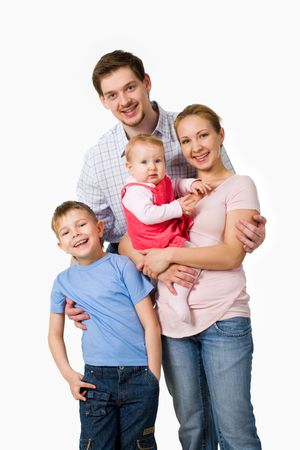 Portrait of happy family of four persons on a white background Stock Photo - 4920757