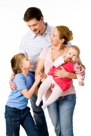 Portrait of members of the family interacting with each other Stock Photo - 4920837