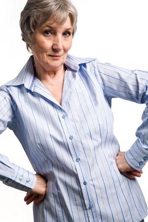 Photo of aged female posing before camera on white background Stock Photo - 4920793