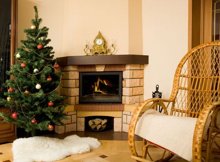 Photo of inter of room prepared for celebrating Christmas day Stock Photo - 6075083