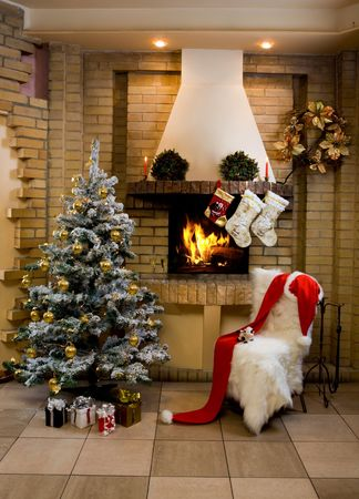 fire place: Image of nice comfortable room decorated for Christmas with fir tree, toys and decorations